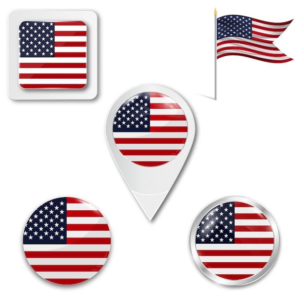 アメリカの国旗のアイコンを設定します。 Premiumベクター