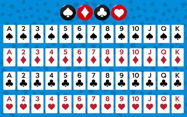 ポーカーやカジノをプレイするためのカードのフルデッキ。 Premiumベクター
