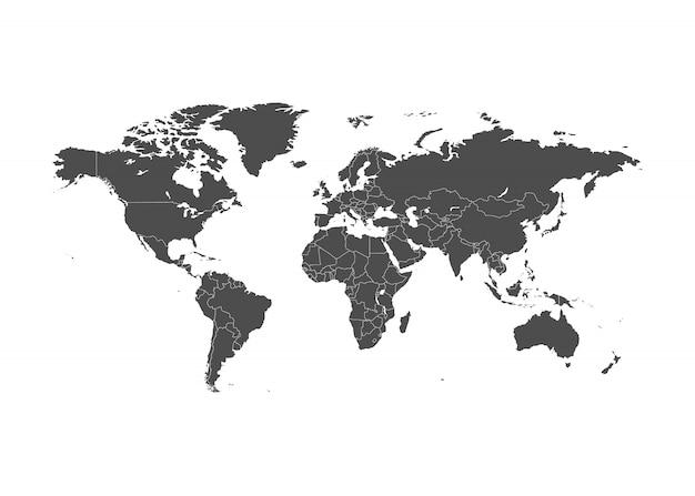 罫線付きの世界地図イラスト。 Premiumベクター