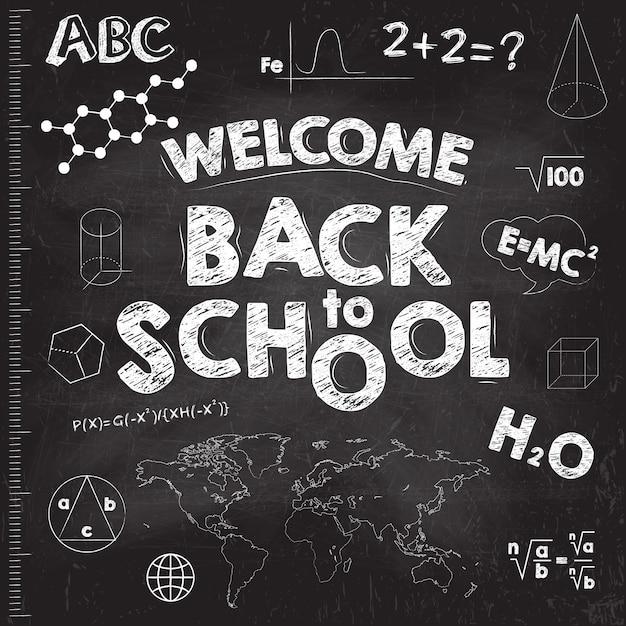 学校のバナーに戻る。碑文と黒の教育委員会。 Premiumベクター