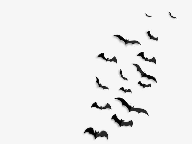 Счастливый хэллоуин концепция черные бумажные летучие мыши Premium векторы