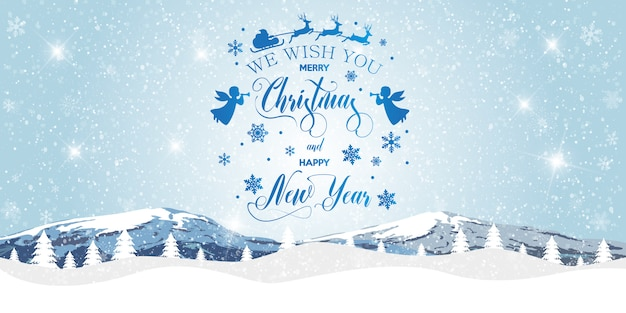 メリークリスマスと幸せな新年の背景。 Premiumベクター