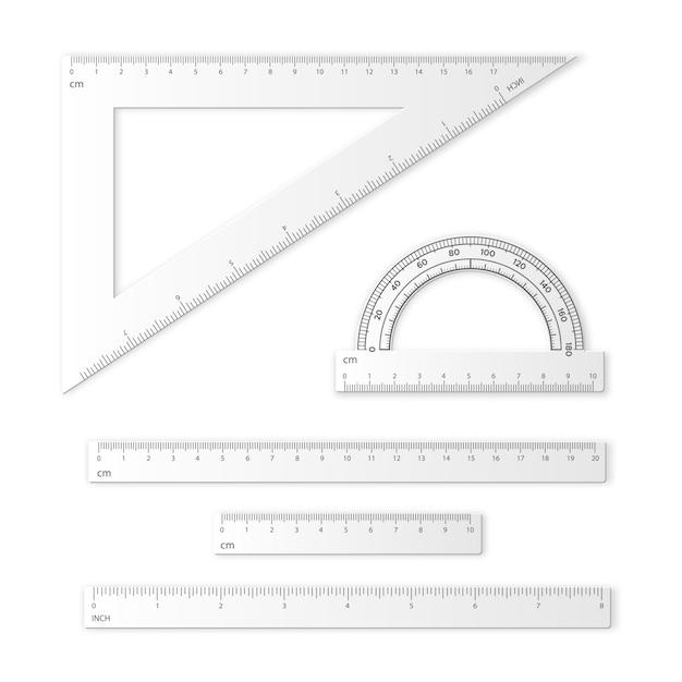 Набор измерительных инструментов. линейки, треугольники, транспортир. Premium векторы