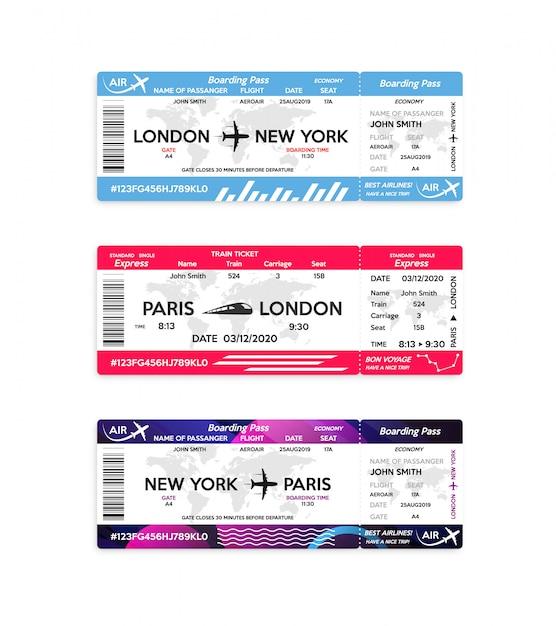 Билет посадочного талона самолета и поезда изолированный на белизне. концепция путешествия, путешествия или деловой поездки. Premium векторы