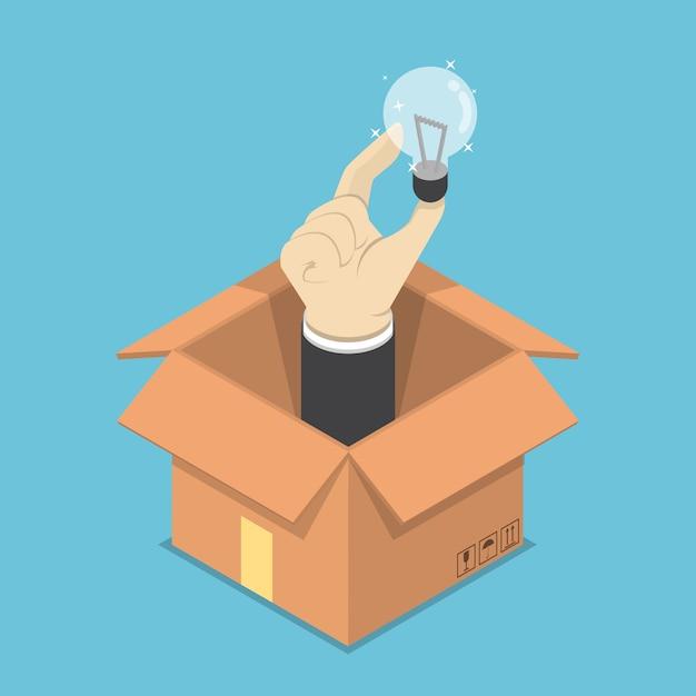Изометрические рука лампочку идеи, торчащие из коробки Premium векторы