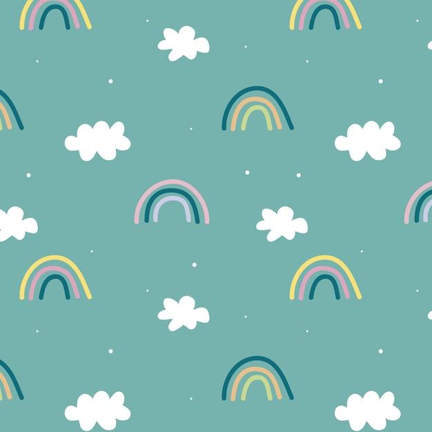 Симпатичный узор с радугой и облаками Premium векторы