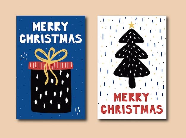 Рисованной веселые рождественские открытки Premium векторы