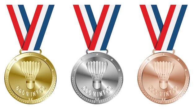 Набор бадминтонских золотых, серебряных и бронзовых медалей. Premium векторы
