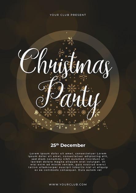 クリスマスパーティーのポスターテンプレート、ゴールド、シルバー、黒、書かれた文字 無料ベクター