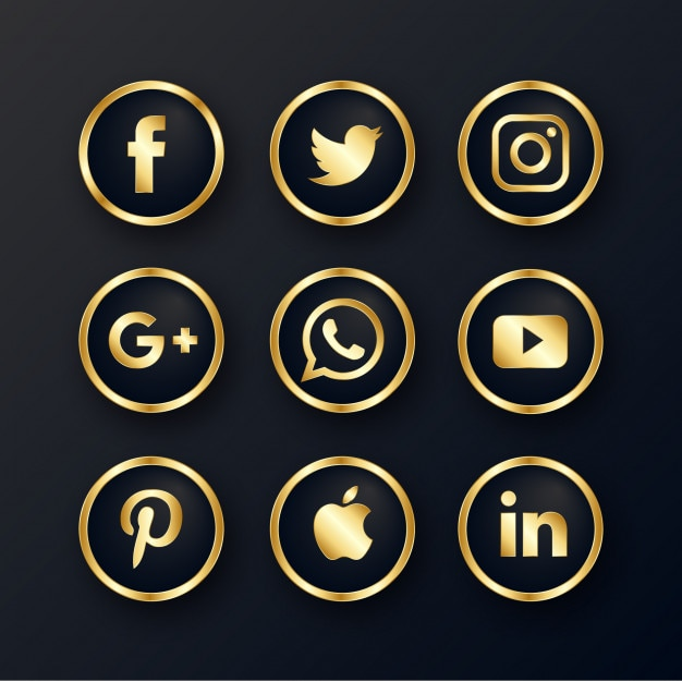 Роскошные золотые иконки социальных медиа Бесплатные векторы