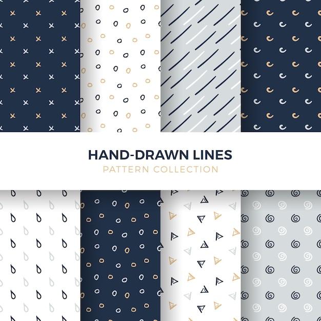 手描きのシェイプとラインシームレスなパターンのコレクション 無料ベクター