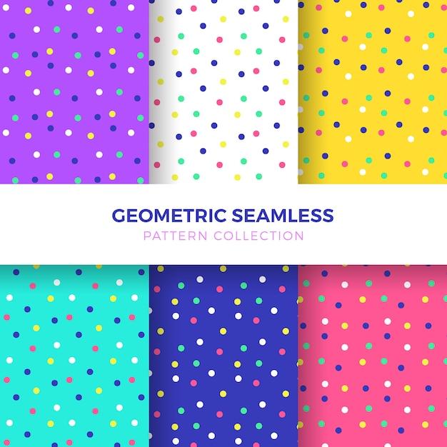 カラフルな点のシームレスなパターンのコレクション 無料ベクター