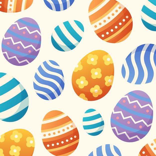 カラフルなイースターの日の卵柄の背景 無料ベクター
