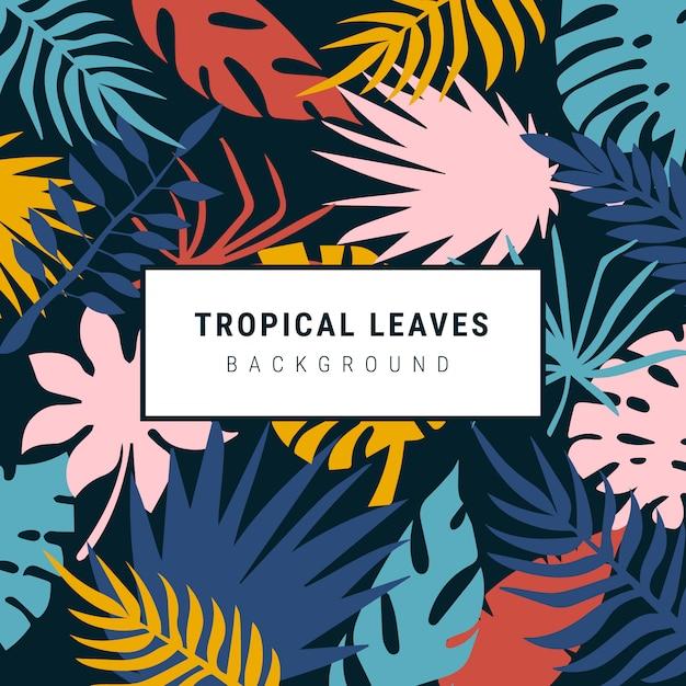 Прекрасные красочные тропические листья фон Бесплатные векторы