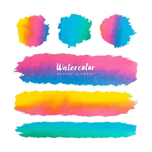 カラフルな水彩グランジブラシフレームコレクション 無料ベクター