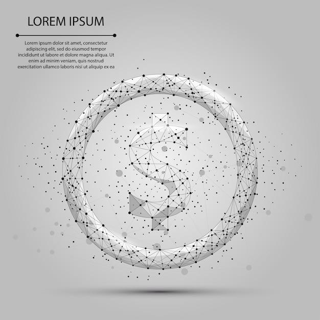 抽象的なマッシュラインとポイントドル記号。ビジネスイラスト多角形の低ポリ通貨 Premiumベクター
