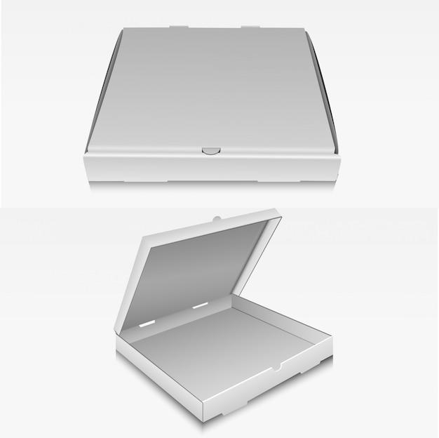 Пустая коробка для пиццы, упаковка, коробка доставки очистить макет. Premium векторы