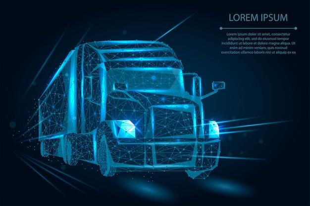 Абстрактный грузовик, состоящий из точек, линий и форм. тяжелый грузовик на шоссе Premium векторы
