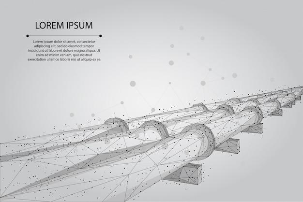 Абстрактная линия затора и точка нефтепровод. нефтяное топливо промышленности транспортной линии связи точек синий векторная иллюстрация Premium векторы