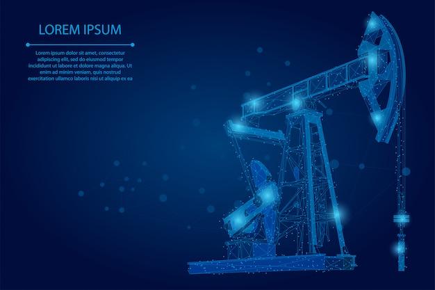 抽象的なマッシュラインとポイントの油井リグ。低ポリ石油燃料業界のポンプジャックデリックポンピング掘削ポイント Premiumベクター