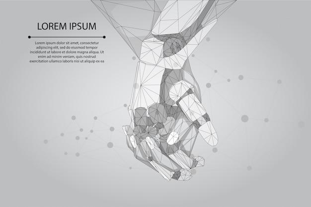Абстрактная линия месива и руки человека и робота точки совместно. будущий технологический бизнес. низкополигональный искусственный интеллект Premium векторы