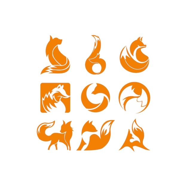 キツネオレンジのインスピレーションロゴ Premiumベクター