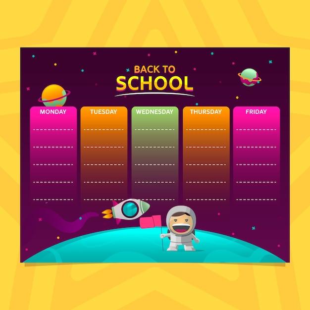 宇宙飛行士とグラデーションスタイルでの学校の時刻表 Premiumベクター