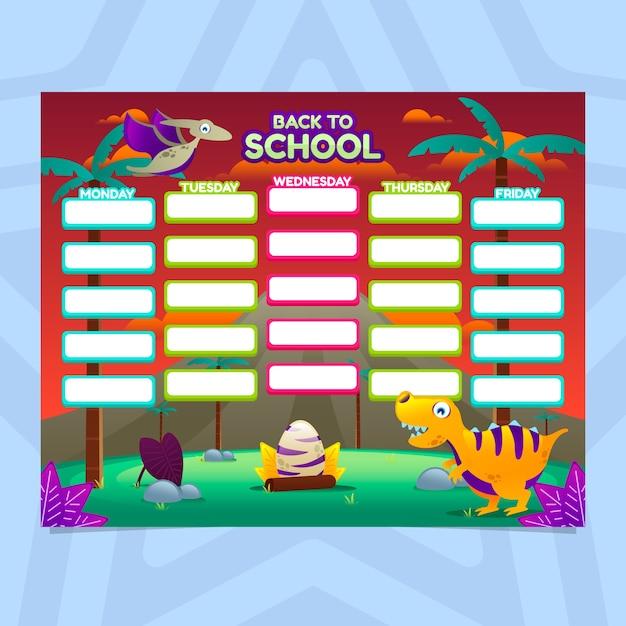 恐竜を使ったグラデーションスタイルの学校の時間割 Premiumベクター