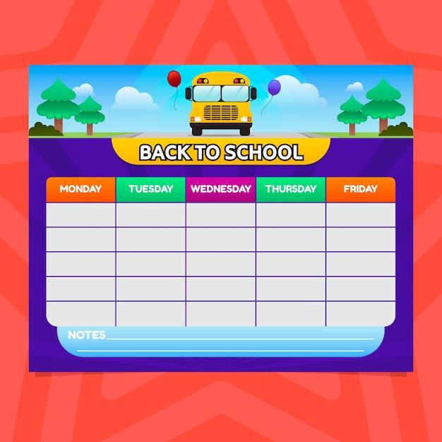バスを使ったグラデーションスタイルの学校時間割 Premiumベクター
