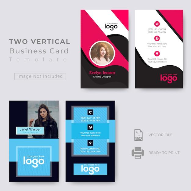 Два вертикальных дизайна визиток Premium векторы