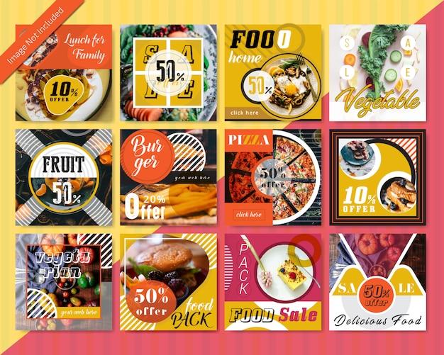 レストランの食品ソーシャルメディア投稿テンプレート Premiumベクター