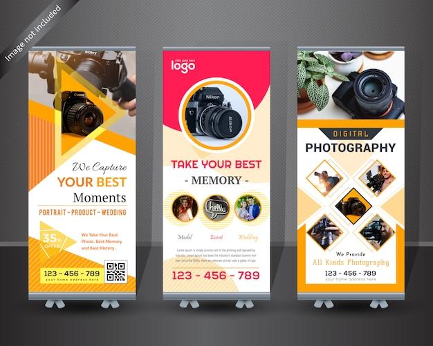 写真ロールアップバナーデザイン Premiumベクター