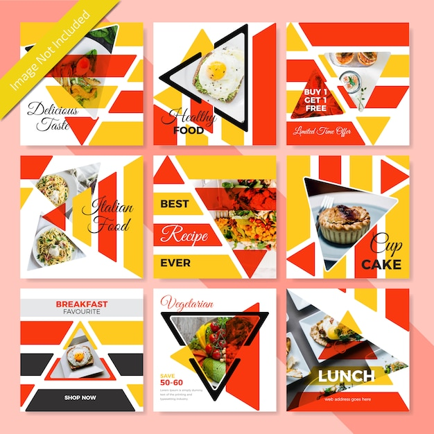 レストラン用食品ソーシャルメディアバナーデザイン Premiumベクター