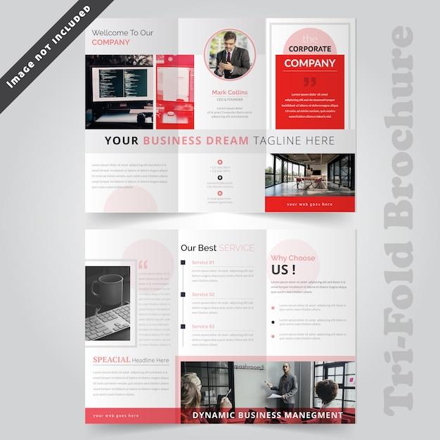 赤の企業三つ折りパンフレットの型板 Premiumベクター