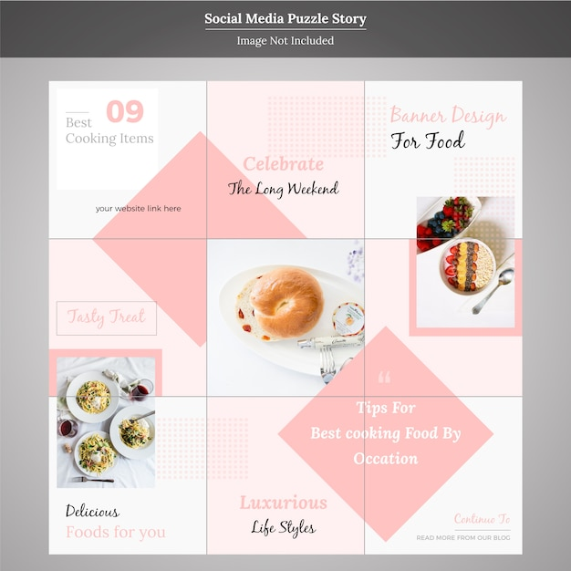 Еда социальные медиа шаблон головоломки Premium векторы