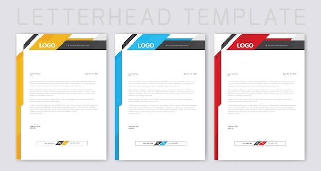 カラフルなビジネスレターヘッドデザイン Premiumベクター