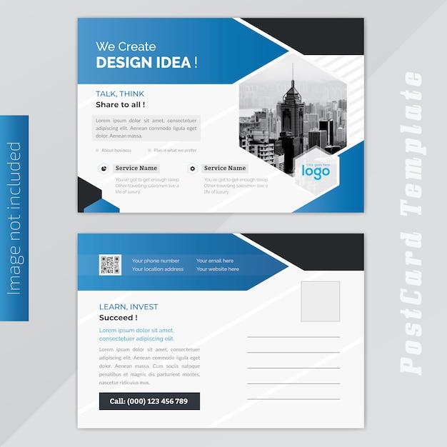 ビジネスブルーポストカードデザイン Premiumベクター