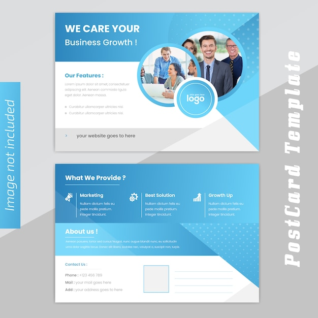 ビジネスポストカードのデザイン Premiumベクター