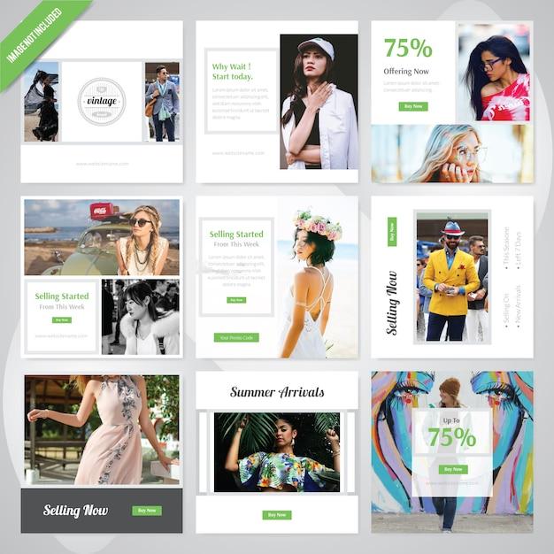 夏のファッションソーシャルメディアの投稿テンプレート Premiumベクター