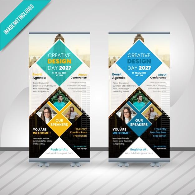 創造的なデザインのコンフェレンスは、バナーデザインをロールアップ Premiumベクター