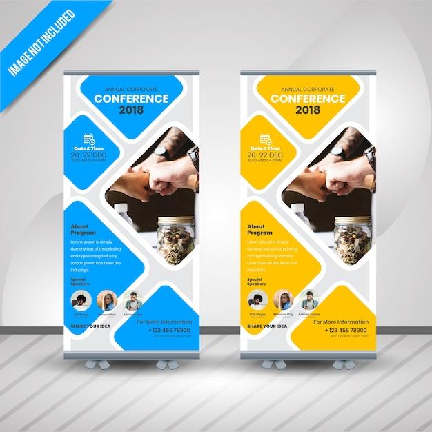 コンフェレンスロールアップバナー Premiumベクター