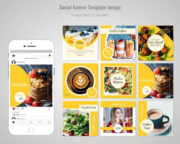 食品レストランソーシャルメディアの投稿テンプレート Premiumベクター