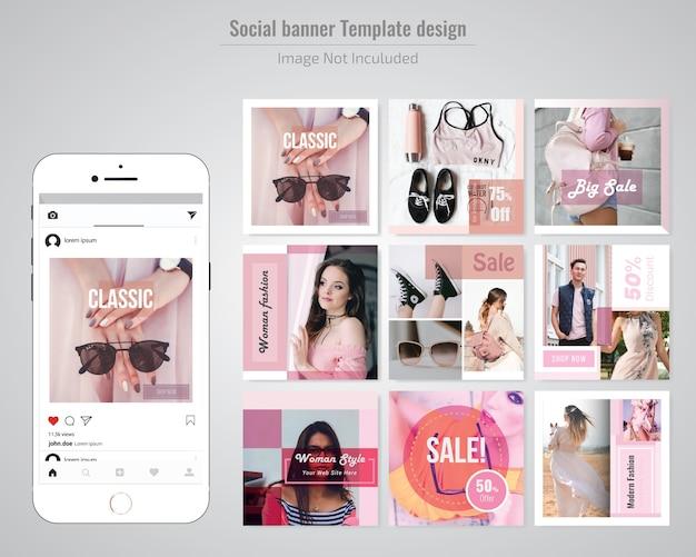 ファッションディスカウントソーシャルメディアの投稿テンプレート Premiumベクター