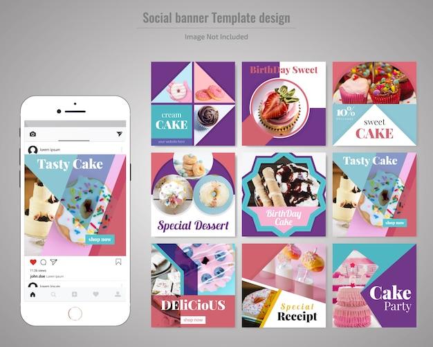 ケーキソーシャルメディア投稿テンプレート Premiumベクター