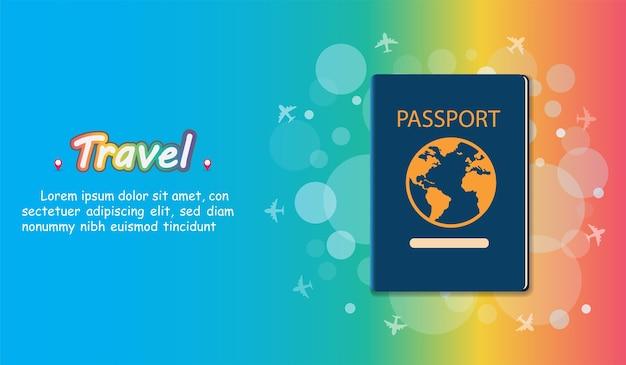 Путешествие паспорта путешествует по всему миру. Premium векторы