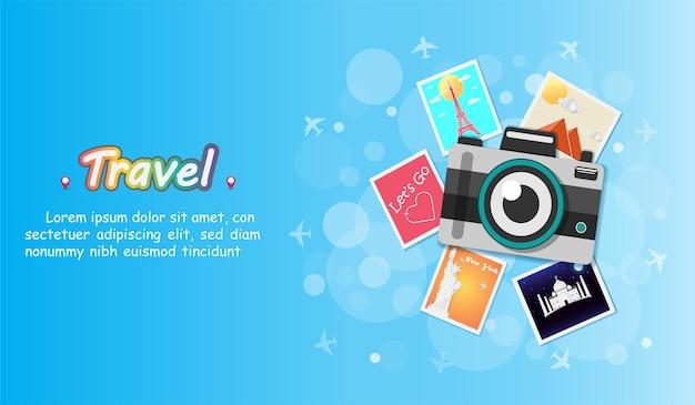 Камера путешествует по всему миру. Premium векторы