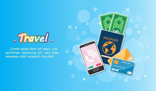 Аксессуары путешествуют по всему миру. Premium векторы