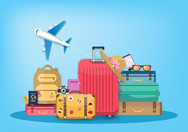 Аксессуары для самолетов и багажа Premium векторы