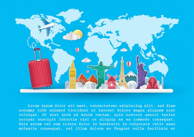 飛行機と荷物トップ世界的に有名なランドマークの旅行 Premiumベクター