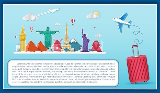 Самолет проверить в пункте путешествия по всему миру концепции. Premium векторы